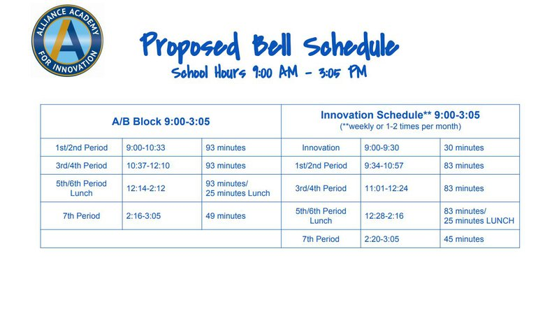 Alliance Academy proposed bell schedule