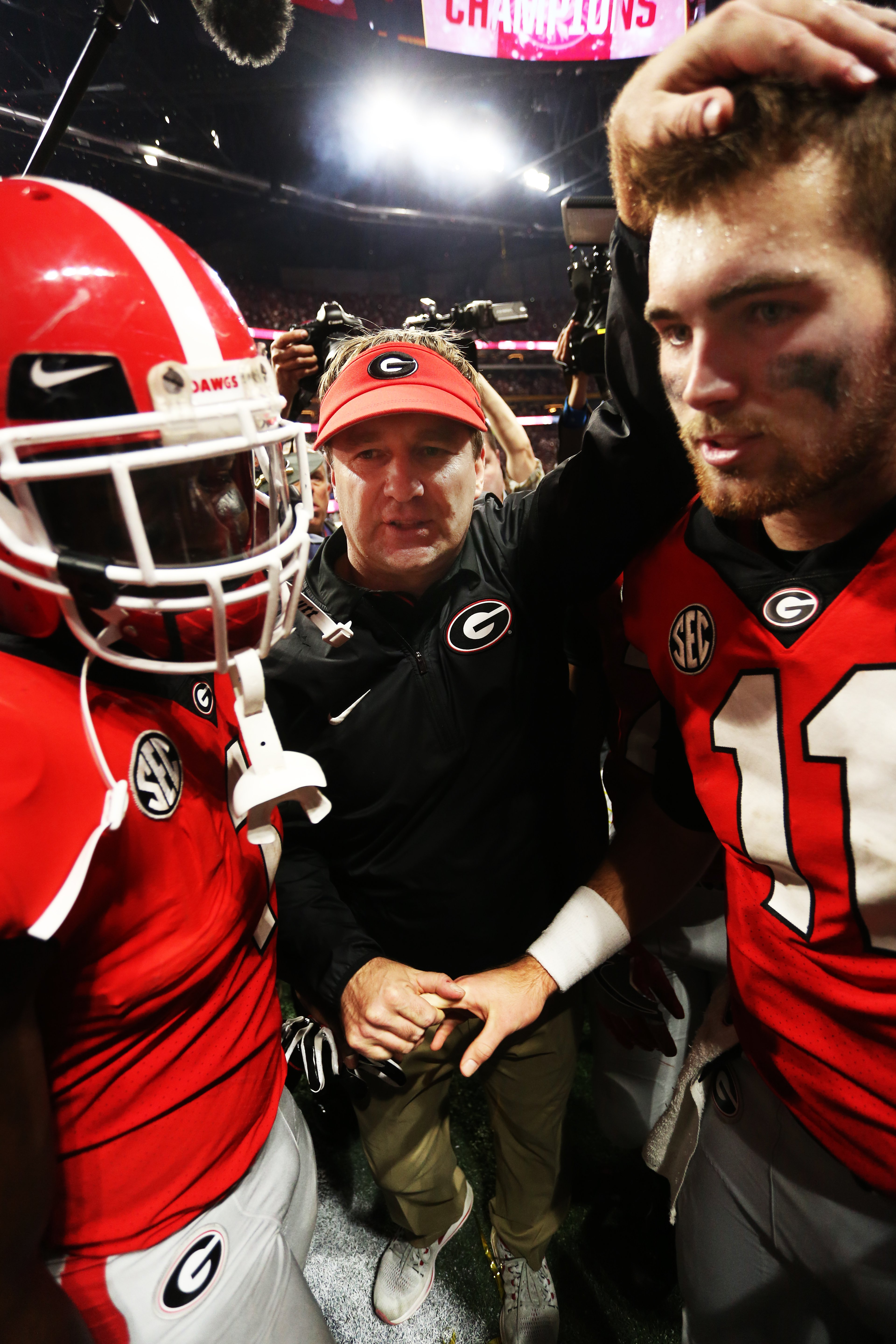 Sony Michel, Kirby Smart and Jake Fromm