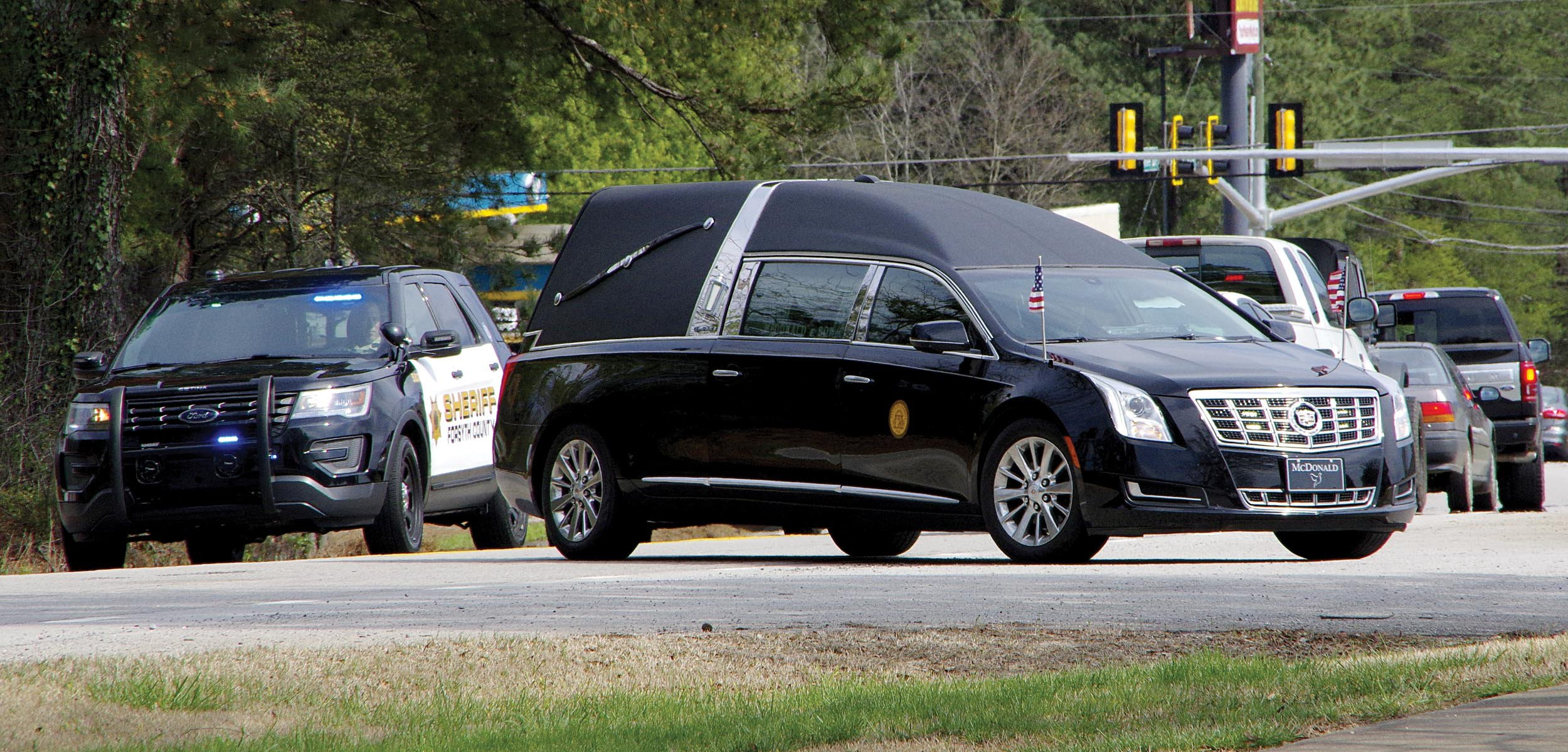 Hearse arrives