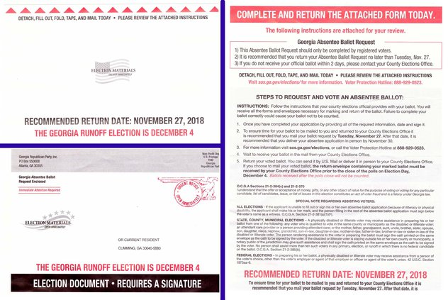 Residents are receiving this absentee ballot solicitation in the mail