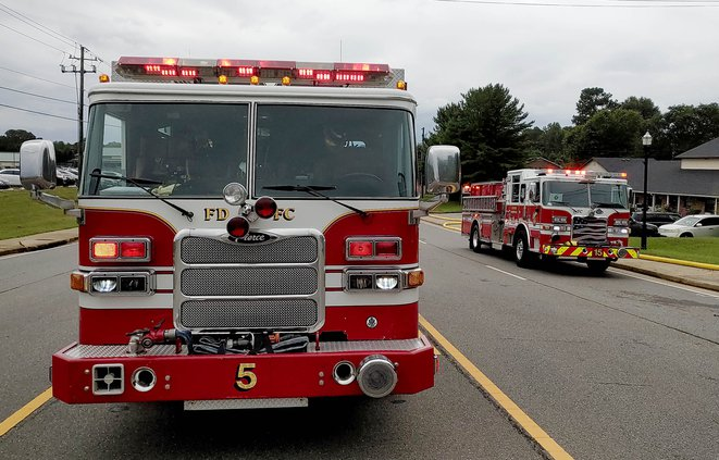 Tribble Gap Rd closed due to fire