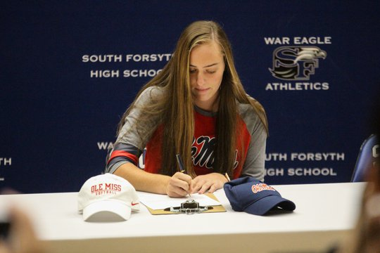 Nine South Forsyth seniors sign to play college sports