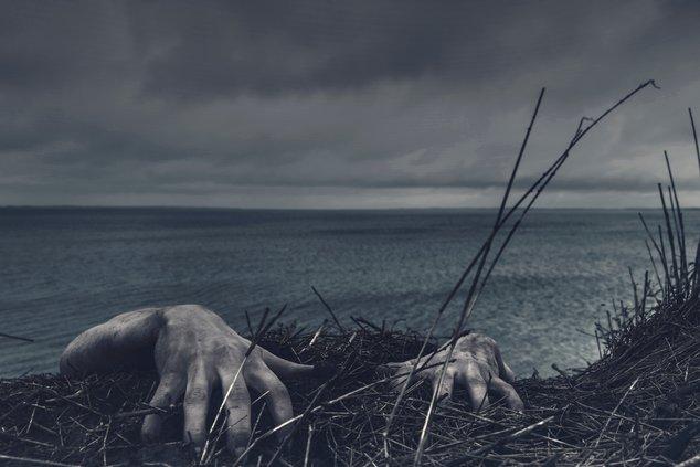 hands lake spooky